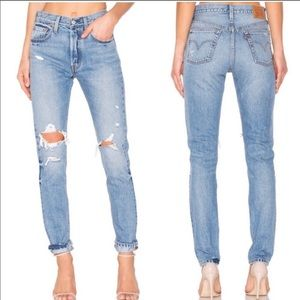 NWT HIGH WAISTED 501 distressed jeans